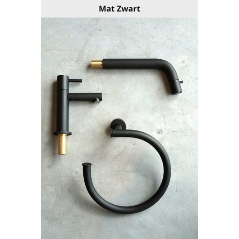 Hotbath Cobber IBS 21 inbouw doucheset - mat zwart - met staafhanddouche - 30cm hoofddouche - met wandarm - wandsteun met uitlaat