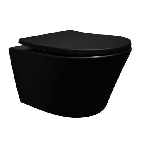 Wiesbaden Vesta hangtoilet mat zwart rimless met shade zitting