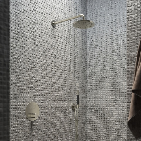 Hotbath Cobber IBS 22 inbouw doucheset - chroom - met ronde 3 standen handdouche - 30cm hoofddouche - met plafondbuis 15cm - glijstang met uitlaat
