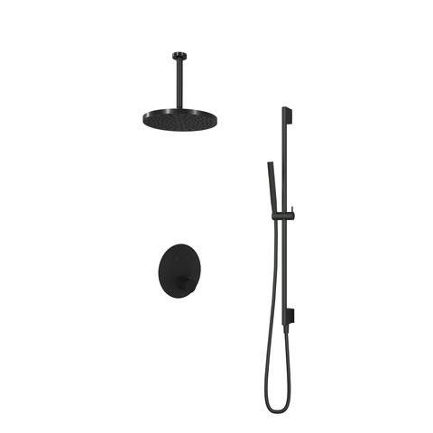 Hotbath Cobber IBS 22 inbouw doucheset - mat zwart - met staafhanddouche - 30cm hoofddouche - met plafondbuis 30cm - glijstang met uitlaat