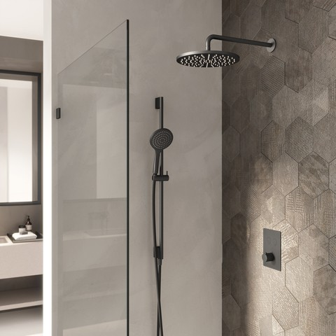 Hotbath Cobber IBS 23 inbouw doucheset - chroom - met staafhanddouche - 20cm hoofddouche - met plafondbuis 30cm - glijstang met uitlaat
