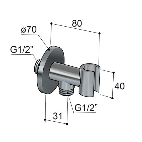 Hotbath Cobber IBS 23 inbouw doucheset - geborsteld nikkel - met ronde 3 standen handdouche - 30cm hoofddouche - met plafondbuis 30cm - wandsteun met uitlaat