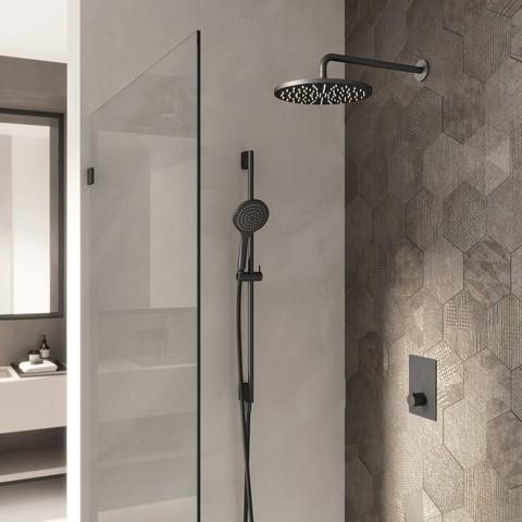 Hotbath Cobber IBS 23 inbouw doucheset - mat zwart - met staafhanddouche - 30cm hoofddouche - met plafondbuis 15cm - glijstang met uitlaat