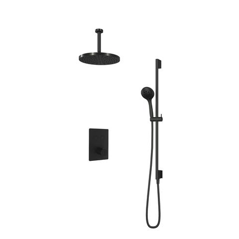 Hotbath Cobber IBS 23 inbouw doucheset - mat zwart - met ronde 3 standen handdouche - 30cm hoofddouche - met plafondbuis 15cm - glijstang met uitlaat