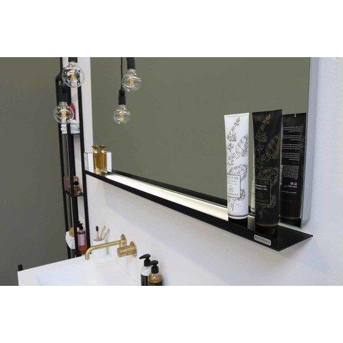 Riverdale stalen planchet tbv rechthoekige spiegel - mat zwart 1200xmm (bxd)