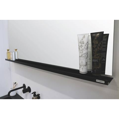 Riverdale stalen planchet tbv rechthoekige spiegel - mat zwart 1400xmm (bxd)