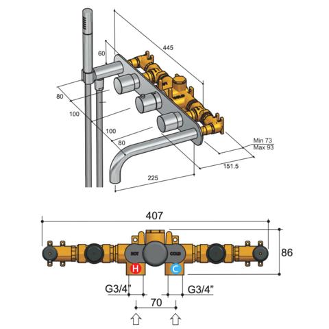 Hotbath Buddy B062 inbouw badthermostaat met 2 stopkranen & uitloop 15cm chroom