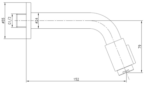 Blinq Aludra tapkraan wandmodel 14,5 cm koper
