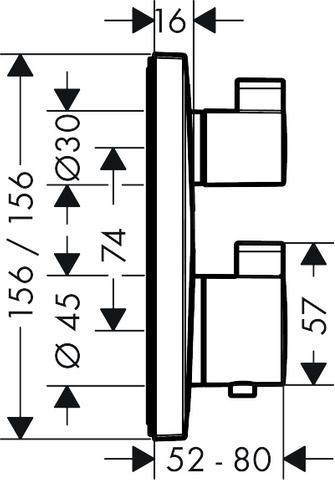 Hansgrohe Ecostat Square thermostaat afbouwdeel voor 2 functies mat zwart