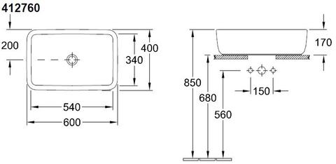 Villeroy & Boch Architectura opzetwastafel 60x40cm wit
