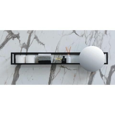 Ink UFO spiegel rond met frame incl. onderplaat en spiegelbevestigingen - Mat zwart 800xmm (bxd)