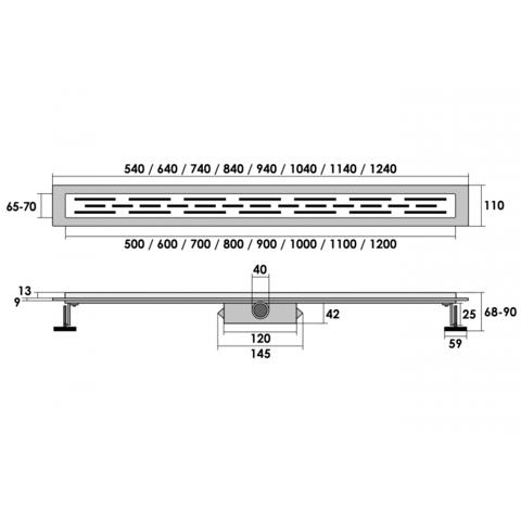 Brauer douchegoot 70cm - zonder flens - zero/tegelinlegrooster (omkeerbaar)