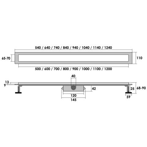 Brauer muur douchegoot 90cm - zero/tegelinlegrooster (omkeerbaar)