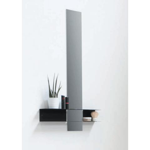 Ink Linea planchet mat zwart - met spiegel 10x70cm