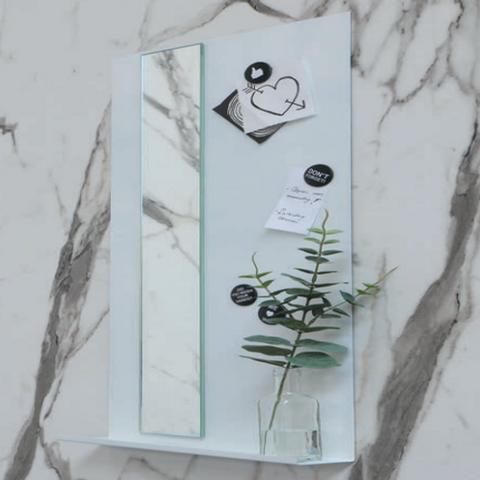 Ink Note fonteinplanchet glans wit 20x72cm - met spiegel helder glas