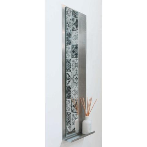 Ink Note fonteinplanchet geborsteld RVS 20x72cm - met spiegel helder glas
