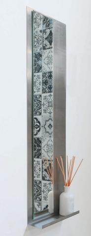 Ink Note fonteinplanchet geborsteld RVS 20x72cm - met spiegel rookglas