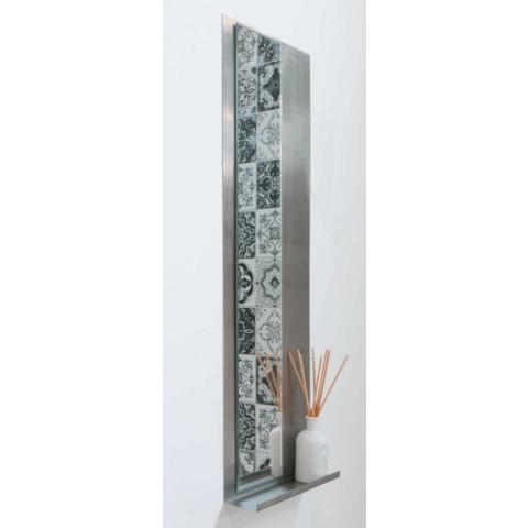 Ink Note fonteinplanchet geborsteld RVS 36x72cm - met spiegel helder glas