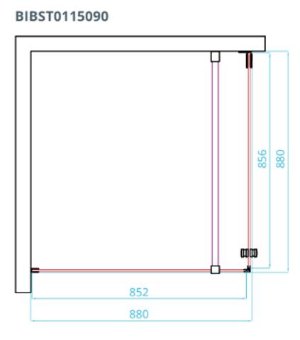 Van Rijn Products ST01 douchecabine zij-instap met matglazen band 90x90cm verchroomd beslag