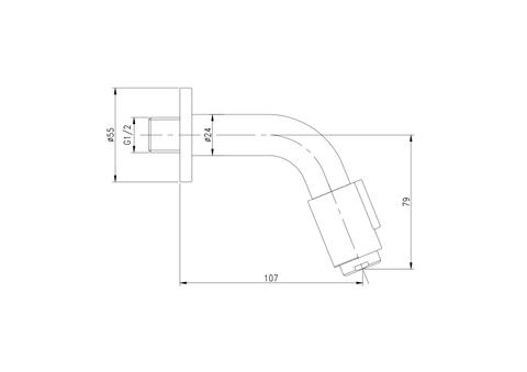 Blinq Aludra wand fonteinkraan - 11cm - geborsteld nikkel
