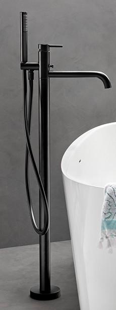 vtwonen baden Curve vrijstaande badkraan met douchegarnituur charcoal
