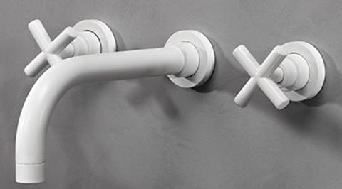 vtwonen baden Cross inbouw wastafelkraan 2-greeps 24cm powder white