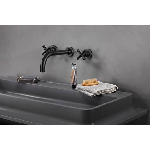 vtwonen baden Cross inbouw wastafelkraan 2-greeps 24cm charcoal