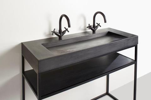 vtwonen baden Tank wastafel met 1 kraangat 60 x 46 cm. concrete black