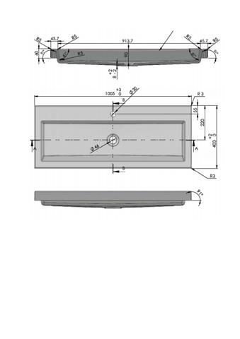 vtwonen baden Solid wastafel 100x40 cm. 1x kraangat graphite