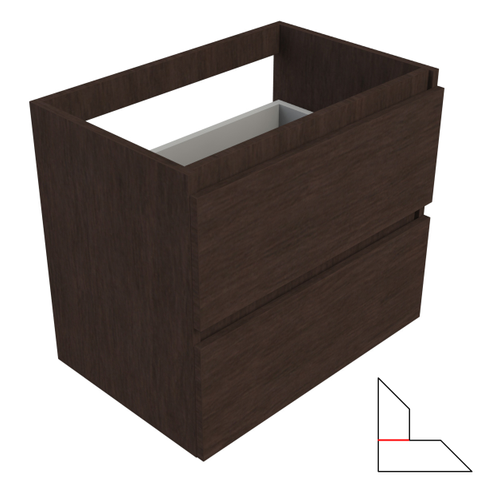 vtwonen baden Solid wastafelonderkast 60x40 cm. 2 lades zonder greep dark oak