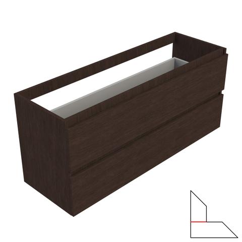 vtwonen baden Solid wastafelonderkast 120x40 cm. 2 lades zonder greep dark oak