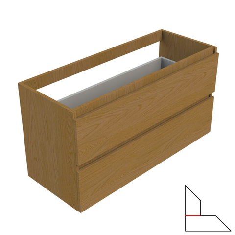 vtwonen baden Solid wastafelonderkast 100x40 cm. 2 lades zonder greep oak