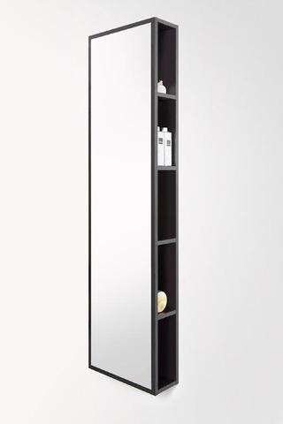 vtwonen baden Stock open kast met spiegel 40x150 cm. black