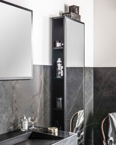 vtwonen baden Goodmorning spiegel met lijst 90 x 60 cm. black
