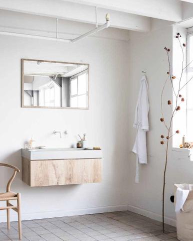 vtwonen baden Goodmorning spiegel 120 x 60 cm - op oak kader