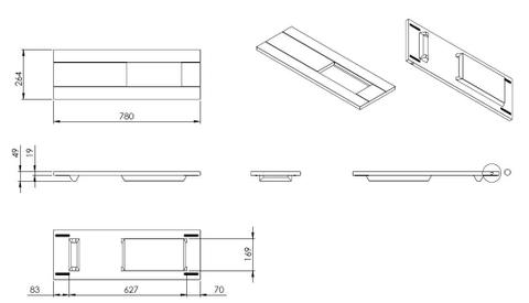 vtwonen baden Board badplank 78 cm. blank eiken