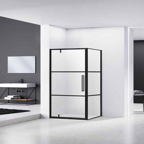 Van Rijn Products ST04 douchecabine zij-instap raster 90x90cm mat zwart beslag