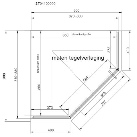 Van Rijn Products ST04 douchecabine vijfhoek 90x90cm raster mat zwart