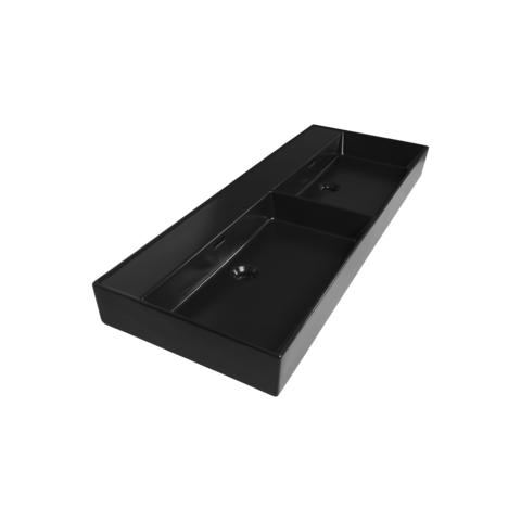 Bewonen wastafel Legend mat zwart 120cm 2 wasbakken - 2 kraangaten