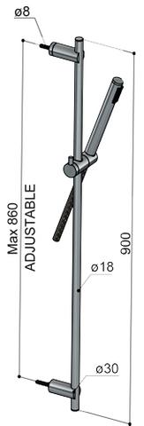 Hotbath Archie glijstangset met thermostaat RVS 316