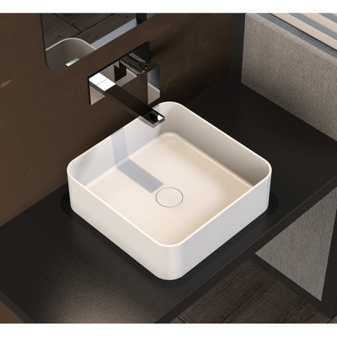 Ideavit Solidthin-SQ opzetwastafel 40x40cm mat wit