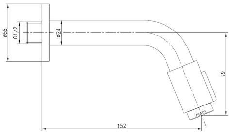 Blinq Aludra tapkraan wandmodel 14,5 cm mat zwart