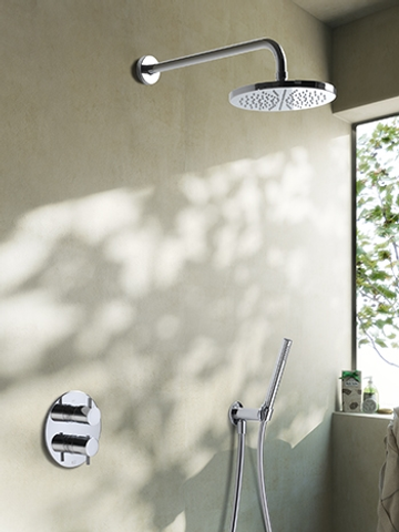 Hotbath IBS 2RA Get Together inbouw doucheset Laddy geborsteld nikkel - Ronde 3-standen handdouche - hoofddouche 20cm - plafondbuis 15cm - wandsteun