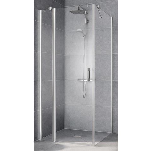 Kermi Pega deur met vast segment rechts 120x200 zilver glans-helder glas