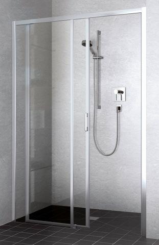 Kermi Liga schuifdeur rechts 150x200 zilver glans-helder glas