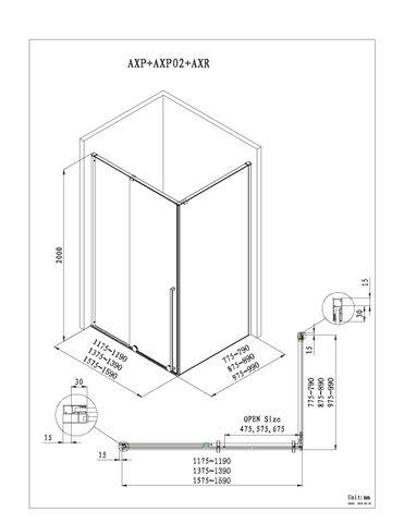 Blinq Guard schuifdeur 120x200 cm. li/re. chroom