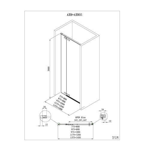 Blinq Guard draaideur met 1x vast deel 120x200cm links/rechts chroom