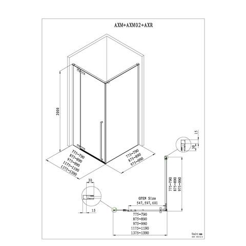 Blinq Guard draaideur met 1x vast deel 100x200cm links/rechts chroom