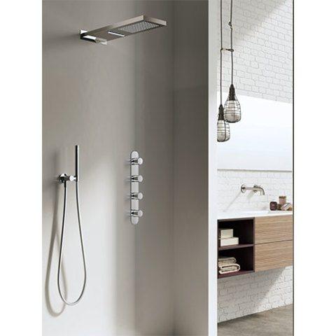 Hotbath IBS 7 Get Together inbouw doucheset met cascade waterval hoofddouche geborsteld nikkel - met staafhanddouche - wandsteun met uitlaat