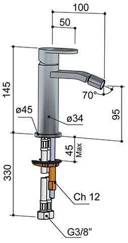 Hotbath Friendo F018 bidetmengkraan zonder waste geborsteld nikkel
